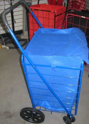 BLUE WITH MATCHING LINER-FOLDABLE SHOPPING CART front swivel wheels Jumbo size