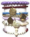 CAT HAMMILL ( キャットハミル ) オーストラリア の 馬の蹄 羽 チャーム ブレスレットセット Mixed Purple bracelet set gold パープル ゴールド ブレスレット ポーチ ゲット 海外 ブランド