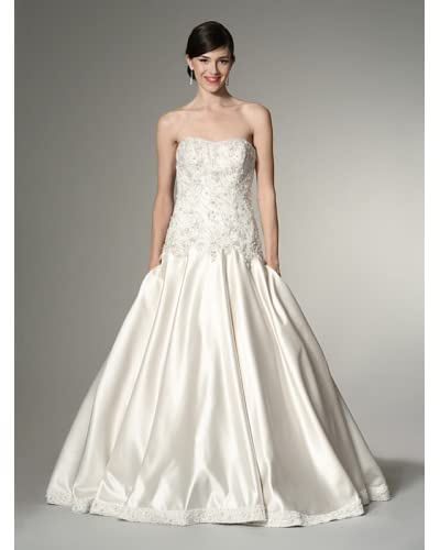 Allure Bridals Women's Strapless Satin & Lace Ballgown  [Ivory/Cafe/Silver]
