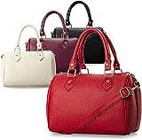 kleine elegante Damentasche Bowlingbag Schultertasche Handtasche Henkeltasche (rot)
