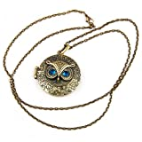 World Pride Vintage Round Owl Locket Necklace Retro