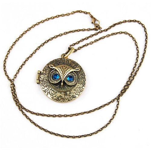 Vintage Round Owl Locket Necklace Retro