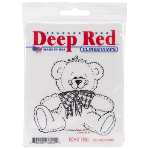 Deep Red Stamps Bear Hug Rubber Stamp - 1