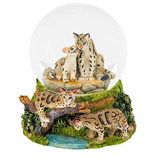 Endangered Clouded Leopard 100MM Water Globe Plays Tune Wave Only Just Begun