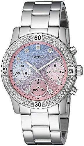 guess-mujer-u0774l1-reloj-plateado-con-azul-y-rosa-con-purpurina-multifuncion-dial