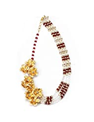 Aarya 24kt Gold Foil flower Necklace with twisted small crystal for women