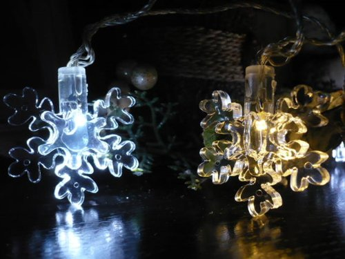 Orange Tree Trade Warm & Cool String Snowflake Led String Lights; Led Christmas Lights; Party Lights
