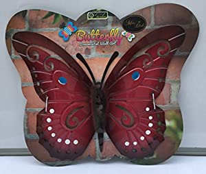 Red Rustic Outdoor Garden Wall Art Butterfly Plaque from Crown crest