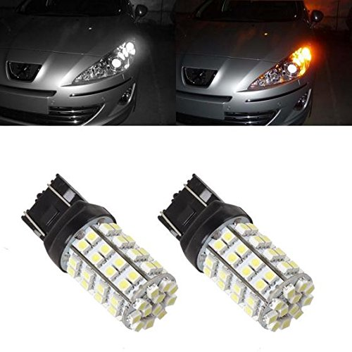 Partsam 2pcs 7440 7440NA 7443 7444NA 7505 992 W21W T20 60-Epistar-Dual Chip-SMD White Amber Switchback High brightness Car Turn Signal bulbs For Chevrolet Dodge Ford Jeep Lexus Mazda Cadillac (Ford Compass Module compare prices)