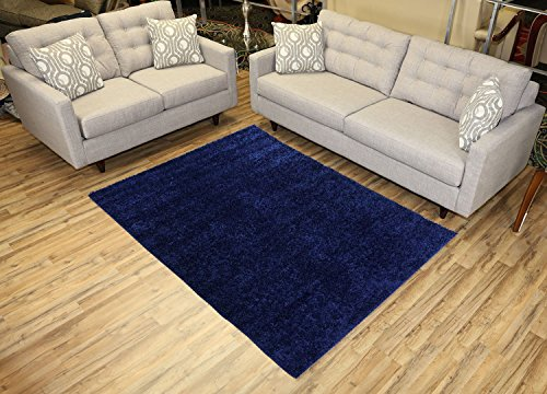 Shaggy Collection Solid Color Shag Area Rugs (Navy Blue, 5'x7') (4014)