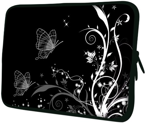 13 inch Black and White Butterflies Floral Garden Notebook Laptop Sleeve Bag Carrying Case for MacBook Acer ASUS Dell HP Lenovo Sony Toshiba