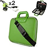 Uniquely designed SumacLife Brand Lime Green Ultra Durable Reinforced 13 Inch Cady Hard Shell Sports Bag for all models of the HP Pavilion 14 Inch Laptop (windows 8, 14-b010us sleekbook, hp pavilion laptops, black) + 2 Cable Holder Organizers thumbnail