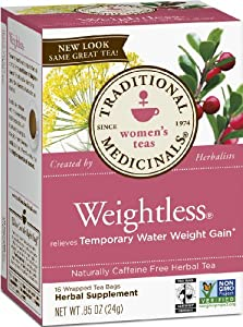 Traditional Medicinals Weightless Herbal Tea, 16-Count Wrapped Tea Bags (Pack of 6)
