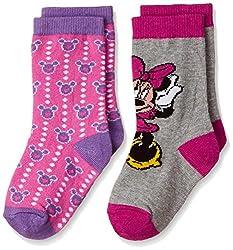 Walt Disney Girls' Socks (RDWD-1723/1724_Grey Melange and Fuchsia_3 - 4 years)