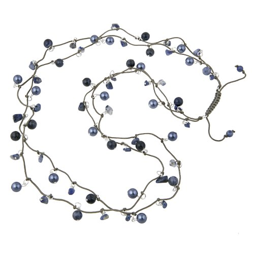 Two Strand Genuine Stone, Crystal and Pearl Blue Necklace, 28
