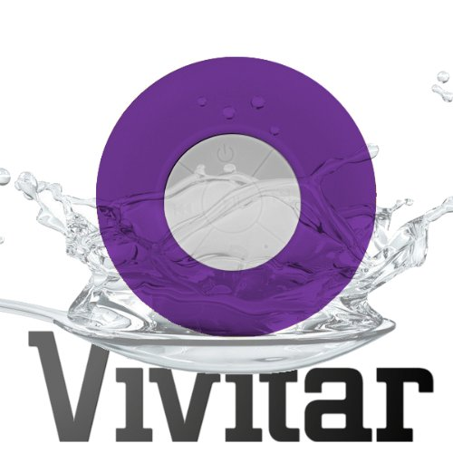 Vivitar Waterproof Wireless Bluetooth Shower Speaker, Handsfree Speakerphone Compatible With All Bluetooth Devices Iphone 5 And All Android Devices Purple