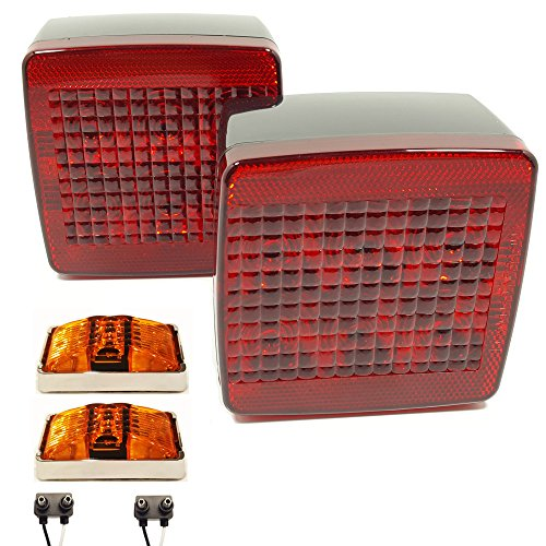 Submersible LED Box Stop Turn Tail Lights & Amber Clearance Side Markers w/ Chrome Bases for Trailer Truck RVs (Under 80