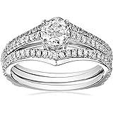 Kobelli 1 cttw Round Brilliant Diamond 14k White Gold Wedding Ring Set