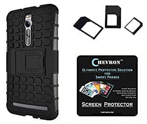 Chevron Hybrid Military Grade Dual Armor Kick Stand Back Cover Case for Asus Zenfone 2 ZE550ML with HD Screen Guard & Multi Sim Adapter (Space Black)