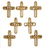 Crosses - Peace, Love, WWJD, Faith, Joy, Jesus, Hope - 7 Wood Ornaments or Decor Set - By EP Laser