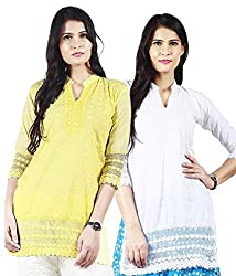 Haniya Womens Cotton Kurti (KSSCCWH_YL_101_F_Combo_L_Multicoloured _Medium)