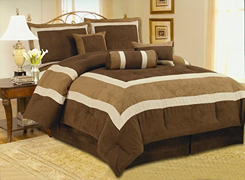 Fancy Collection 7Pc Luxury Brown Micro Suede Comforter Set Bed-In-A-Bag Queen Size Bedding front-742033