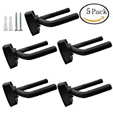 FF Elaine 5 Pack Black Guitar Hanger Hook Holder Wall Mount Display with Screws Fits Most Guitars