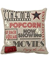 Movie Theater Cinema Admit One Ticket Pillow-Red Personalized 18x18 Inch Square Cotton Throw Pillow Case Decor Cushion Covers