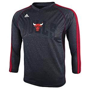 NBA Chicago Bulls Youth 8-20 Long Sleeve On-Court T-Shirt, Red by adidas