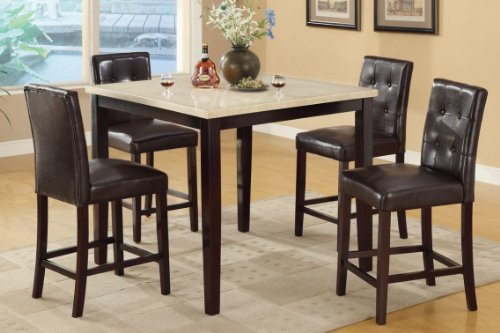 Counter Height Table With Faux Marble Top And 4 High Chairs front-182192