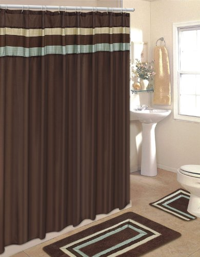 BROWN with BLUE and BEIGE STRIPE 18-Piece Bathroom Set: 2-Rugs/Mats, 1-Fabric Shower Curtain, 12-Fabric Covered Rings, 3-Pc. Decorative Towel Set