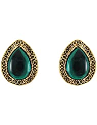Donna Fashion Green Drop Stud Gold Plated Earrings With Crystals For Women ER30095G