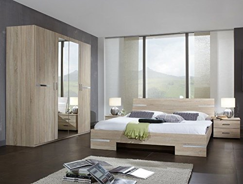 Spectacular Germanica BAVARI Bedroom Furniture Set with Door Wardrobe Double Bed u x Bedside Cabinets in LIGHT OAK Colour Includes Full Assembly Service Features