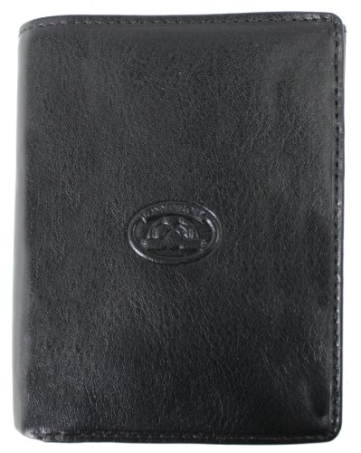 Tony Perotti genuine leather tri fold purse/note case wallet Black TP-1180Blk