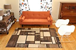 New City Contemporary Brown and Beige Modern Square Boxes Area Rug 5\'2 x 7\'3