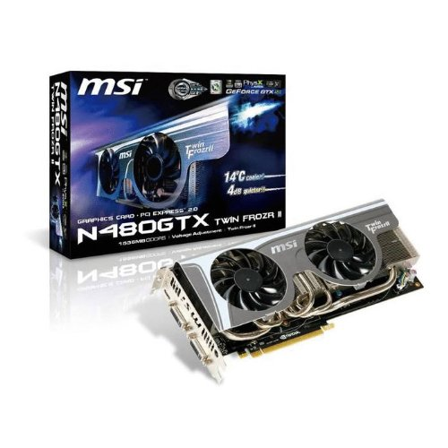 MSI nVidia GeForce GTX 480 1536 MB DDR5 2DVI/Mini HDMI PCI-Express Video Card N480GTX TWIN FROZR II