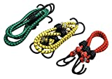 #4: Zacharias High Strength Elastic Bungee / Shock Cord Cables, Luggage Tying Rope With Hooks, Set Of 3