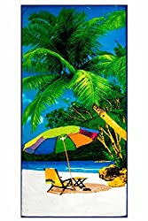 Microfiber Beach Towel Tropical Beach Print 100% Polyester 28'x55'