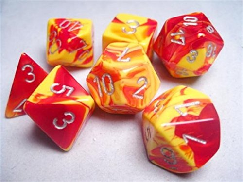 Polyhedral 7-Die Gemini Chessex Dice Set - Red & Yellow With Silver CHX-26450