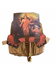 The House Of Tara Golden Faux Leather And Canvas Godess Lakshmi Backpack (Multicolour)