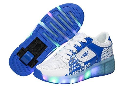Bambini ragazze LED Heelys scarpe Sneaker con ruote 7colori cambia colore, Blu (blu), 36