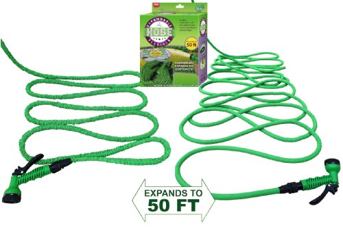 #1 Expandable Garden Water Hose & Nozzle Combo, Expanding From 17' to 50ft, Three Times it's Length - This Flexible High Volume Garden Hose is Strong Lightweight Natural Rubber and Never Kinks or Tang