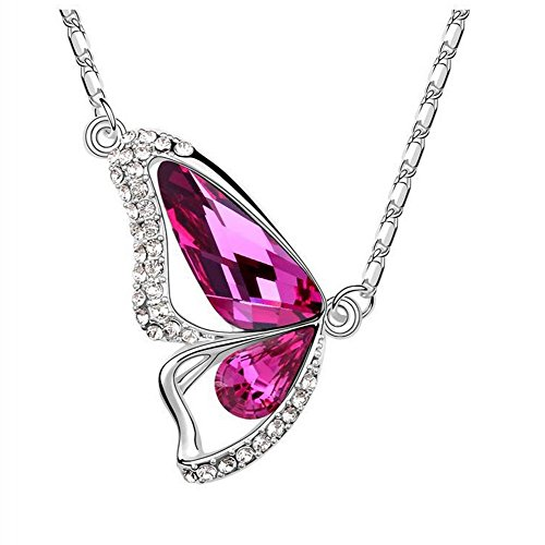The Starry Night Pink Crystal Butterfly Lovers Diamond Accented Silver Plated 18k Insect Necklace for Fashion Women (Barbie Comforter Full compare prices)