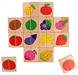 28 Pieces Wooden Domino Tiles Picture Puzzle Toppling Toys