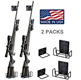 Pack of 2 Safety Solutions Gun Accessories Mount Anywhere Single Shotgun Rifle Vinyl Coated Metal Gun Rack (Hand made in USA) (Rifle Rack x2)