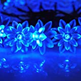 E-Light Solar Fairy String Lights 16.4ft 20 LED Double Lotus Decorative Lights for Outdoor, Gardens, Lawn, Patio, Christmas Trees, Weddings, Parties, Indoor and Outdoor Use (20 LED Blue)