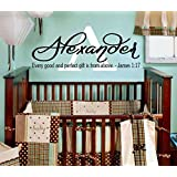 Personalized Good and Perfect Gift From Above Vinyl Wall Decal Name Initial James Bible Scripture Christian Nursery Décor Baby Newborn Child Bedroom