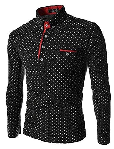 Mens Luxury Casual Slim Fit Dot Stylish Long Sleeve Dress Shirts