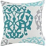 Euphoria Cushion Covers Pillows Shell Cotton Linen Blend Three-tone Floral Geometric 18 X 18 Inches