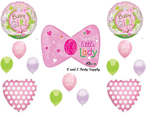 Baby Girl Little Lady Hairbow Shower Balloons Decorations Supplies front-989299